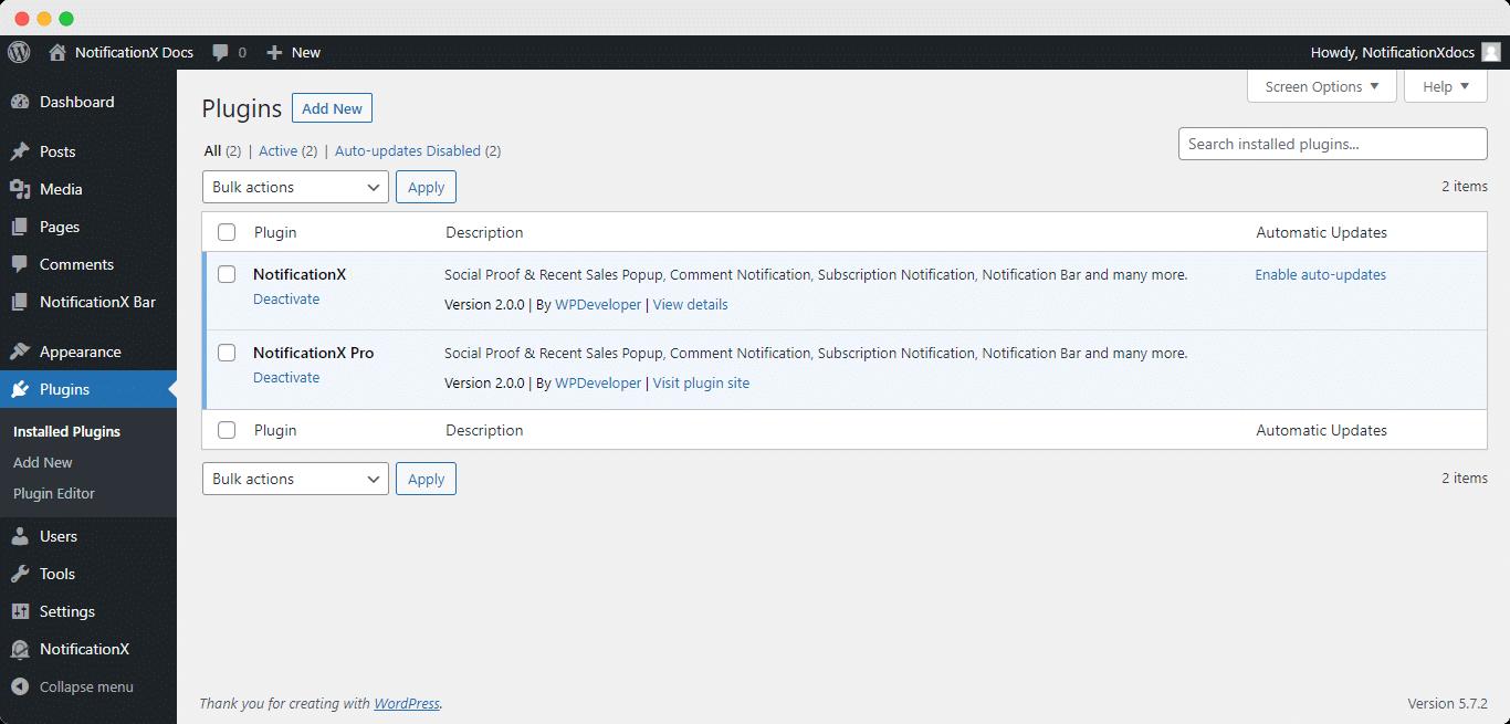 Install NotificationX PRO