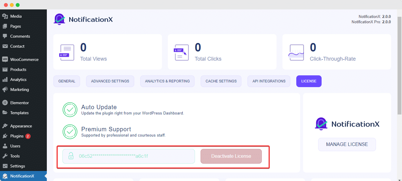 activate NotificationX license